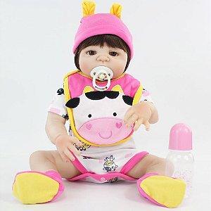 Bebê Reborn Gabriela com Roupinha de Vaquinha 55cm