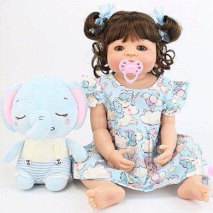 Bebê Reborn Perla 55cm Toda em Silicone com Elefantinho