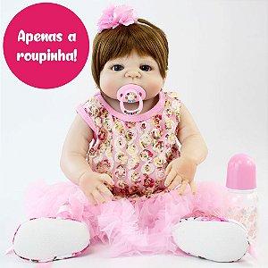 Vestido Floral Rosa com Acessório para Bebê Reborn 55cm - Somente a Roupinha!