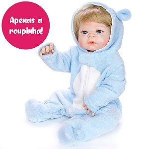 Macacão Azul para Bebê Reborn 55cm - Somente a Roupinha!