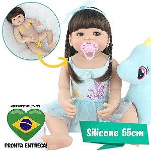 BEBÊ REBORN SILICONE PATRÍCIA 55CM COM MY LITTLE PONY - PRONTA ENTREGA!