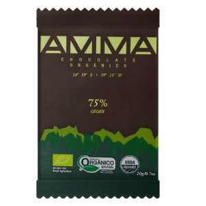 Chocolate Orgânico 75% Cacau 20g - Amma Chocolate
