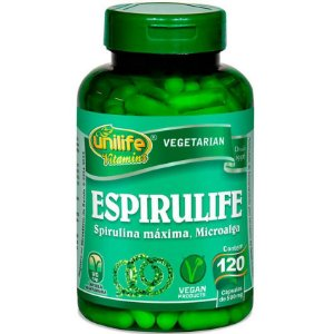Espirulife Spirulina 500mg 120 Cápsulas - Unilife
