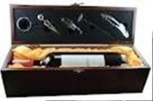 Caixa porta vinho couro ou madeira