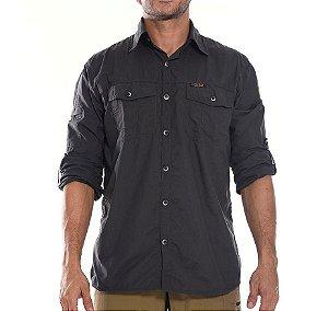 Camisa Masculina Hard Adventure Safari UV50+ Chumbo