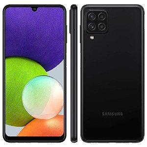"""Smartphone Samsung Galaxy A22 Preto 128GB, 4GB RAM, Câmera Quádrupla Traseira, Tela Infinita de 6.4"""", Bateria de 5000mAh, Dual Chip e Octa Core"""