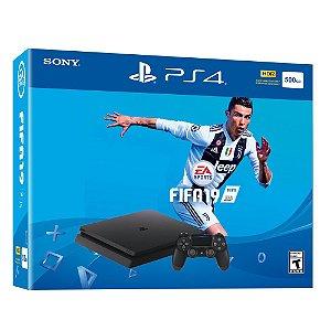 Console PlayStation 4 Slim 500gb + FIFA 2019 Preto