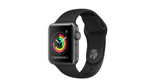 Smartwatch Apple watch Serie 3 Com GPS 38mm Caixa de alumínio Cinza Space Gray Com Pulseira esportiva Preta