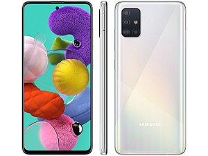 "Smartphone Samsung Galaxy A51 128GB Branco 4G - 4GB RAM 6,5"" Câm. Quádrupla + Câm. Selfie 32MP"
