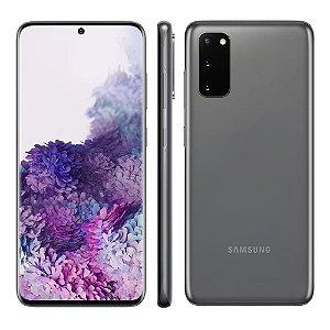 """Smartphone Samsung Galaxy S20, 128GB, 8GB RAM, Tela 6.2"""", Câmera Tripla Traseira 64MP+12MP+12MP (UW), Câmera Frontal 10MP com Autofoco, IP68, Dual Chip,  - Cosmic Gray (Cor escura ) (Cinza)"""