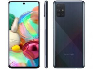 "Smartphone Samsung Galaxy A71 128GB Preto 6GB RAM - Tela 6,7"" Câm."