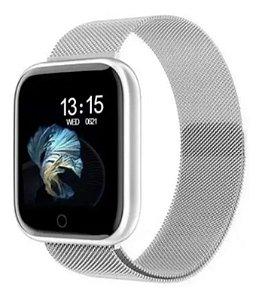 Relogio Smartwatch Inteligente P70 Pro Bluetooth Pulseira em Metal Cinza