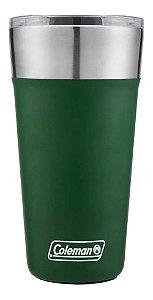 Copo Termico De Cerveja Verde Em Aço Inox Com Tampa Coleman