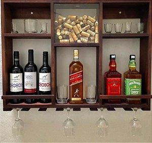 Bar Adega Rústico de Parede London Madeira até 8 Garrafas com Porta Rolhas em Acrílico