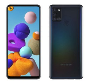 """Smartphone Samsung Galaxy A21s Preto 32GB, Câmera Quádrupla,Tela Infinita de 6.5"""", Leitor de Digital, 3GB RAM, Carregamento Rápido e Android 10"""