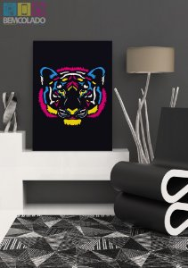 "Placa Decorativa ""Neon Tiger"""