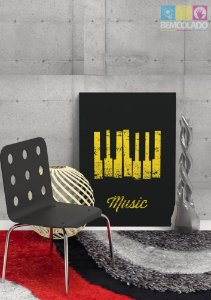 "Placa Decorativa ""Piano Music"""