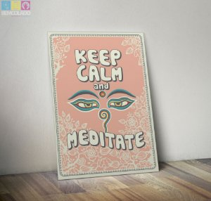 "Placa Decorativa ""Keep Calm and Meditate"""