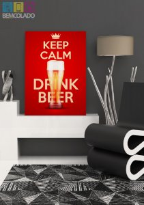 "Placa Decorativa ""Keep Calm and Drink Beer"""