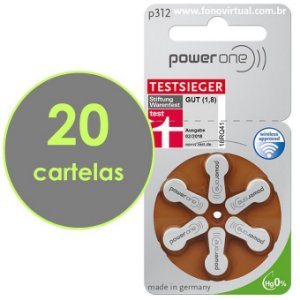 Pilhas Para Aparelho Auditivo POWER ONE P312 / PR41 - Mercury Free - 120 baterias