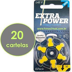 120 Baterias EXTRA POWER 10 / PR70 - Para Aparelho Auditivo