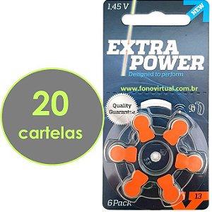 120 Baterias EXTRA POWER 13 / PR48 - Para Aparelho Auditivo