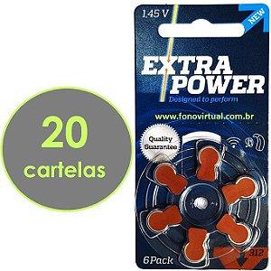 120 Baterias EXTRA POWER 312 / PR41 - Para Aparelho Auditivo