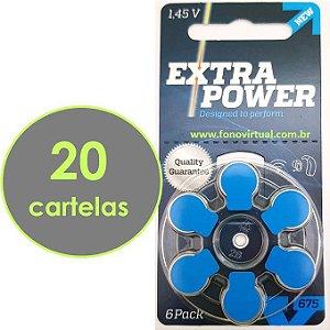 120 Baterias EXTRA POWER 675  / PR44 - Para Aparelho Auditivo