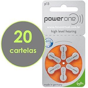 Pilhas Para Aparelho Auditivo POWER ONE P13 / PR48 - Mercury Free - 120 baterias