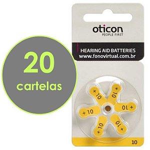 Bateria Para Aparelho Auditivo OTICON 10 / PR70 - 120 pilhas