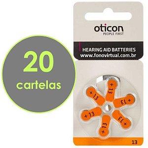 Bateria Para Aparelho Auditivo OTICON 13 / PR48 - 120 pilhas