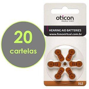 Bateria Para Aparelho Auditivo OTICON 312 / PR41 - 120 pilhas