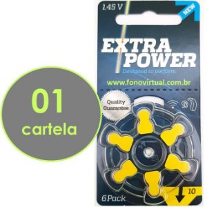 06 Baterias EXTRA POWER 10 / PR70 Para Aparelho Auditivo