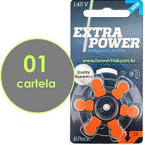 06 Baterias EXTRA POWER 13 / PR48 Para Aparelho Auditivo