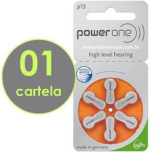 06 Baterias POWER ONE P13 / PR48 - Mercury Free - Para Aparelho Auditivo