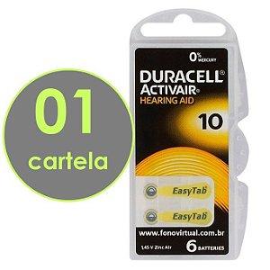 06 Baterias DURACELL 10 / PR70 - Para Aparelho Auditivo