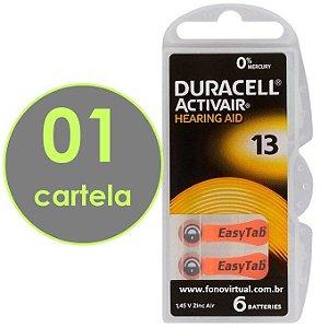 06 Baterias DURACELL 13 / PR48 - Para Aparelho Auditivo