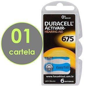 06 baterias DURACELL 675 / PR44 - Para Aparelho Auditivo