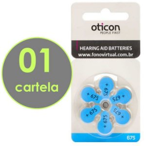 06 Baterias OTICON 675 / PR44 - Para Aparelho Auditivo