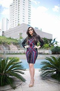 VESTIDO DE BRILHO COM TIRAS COLORIDAS