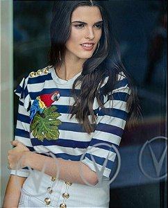 Blusa Listrada com Bordado - Anne Fernandes