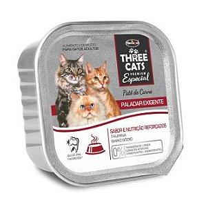 Ração Úmida para Gatos Three Cats Patê de Carne 90g