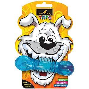 Brinquedos Para Cachorro Mordedor Pet Flex Halteres Pequeno Azul