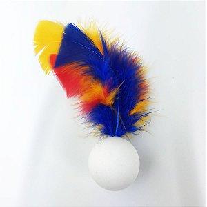 Brinquedo Para Gatos Ping Penas Azul e Amarelo