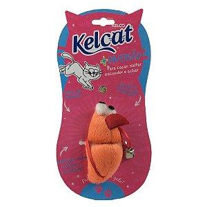 Brinquedo Para Gatos Kelcat Rato e Guizo Laranja