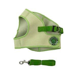 Peitoral e Guia Para Cachorro Chocolate e Mia Estampado Verde