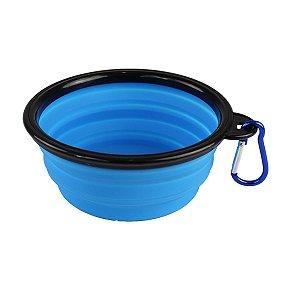 Comedouro e Bebedouro Silicone Retrátil e Portátil Azul