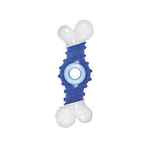 Brinquedo Para Cachorro Mordedor Osso Super Chew Azul
