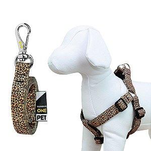 Peitoral e Guia Para Cachorro Number One Leopard