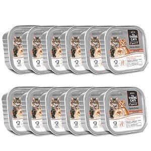 12 Unidades Ração Úmida para Gatos Three Cats Patê de Salmão 90g